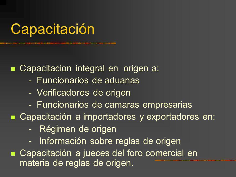 Capacitación Capacitacion integral en origen a: