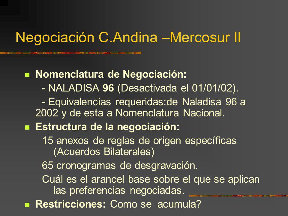 Negociación C.Andina –Mercosur II