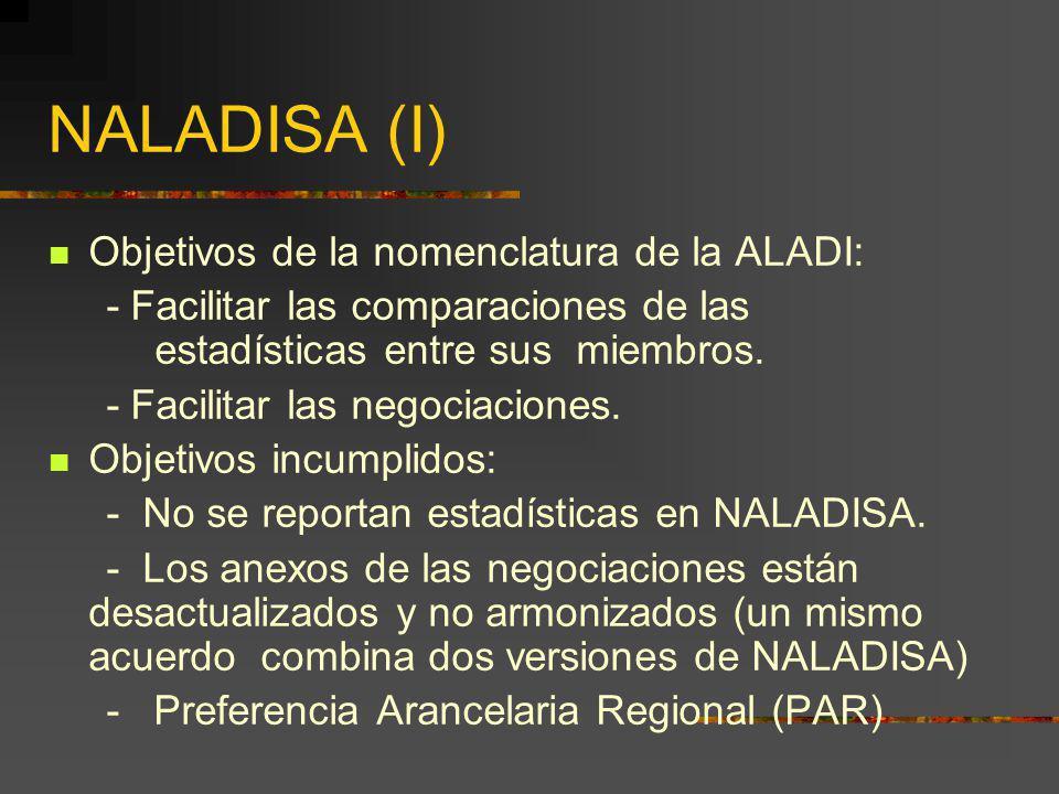 NALADISA (I) Objetivos de la nomenclatura de la ALADI: