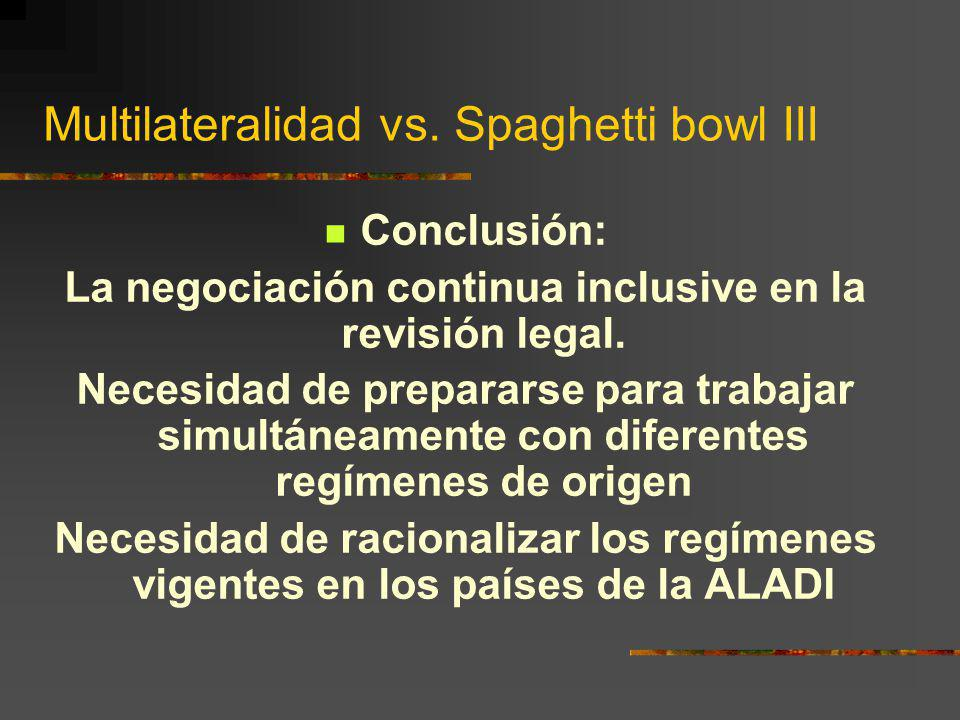 Multilateralidad vs. Spaghetti bowl III