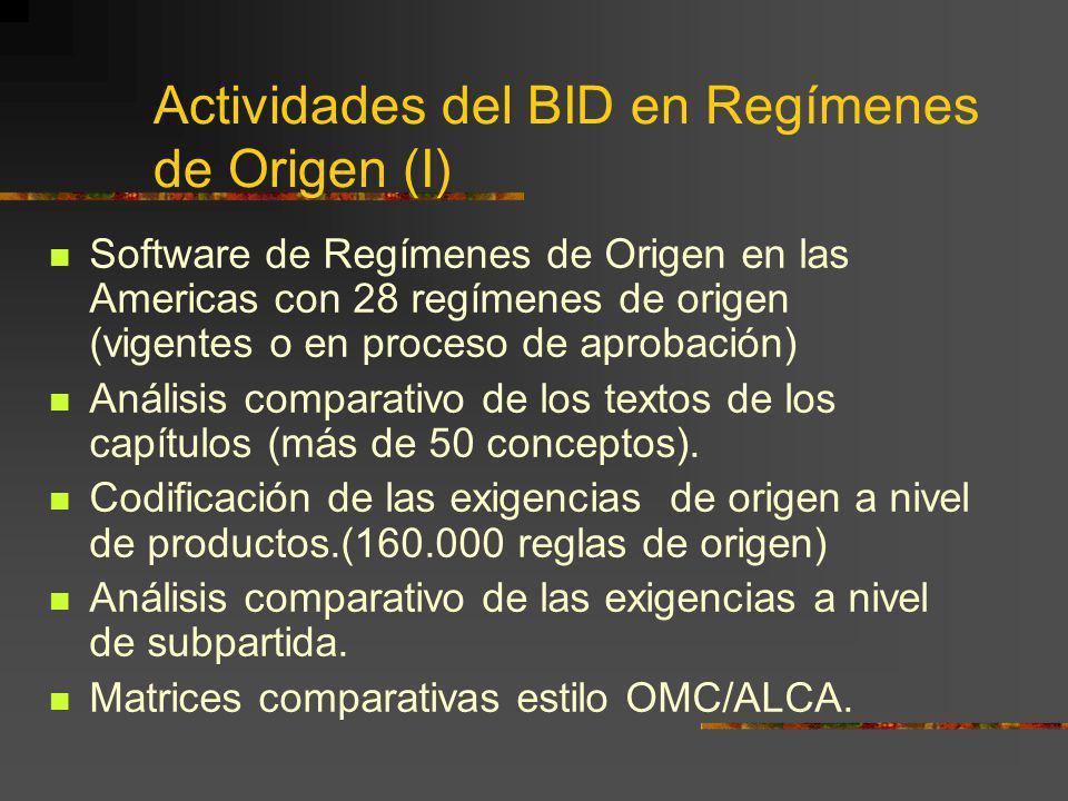 Actividades del BID en Regímenes de Origen (I)