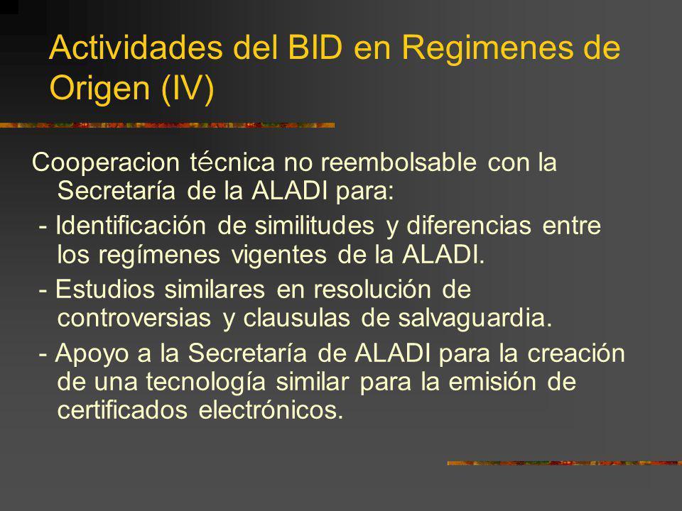 Actividades del BID en Regimenes de Origen (IV)
