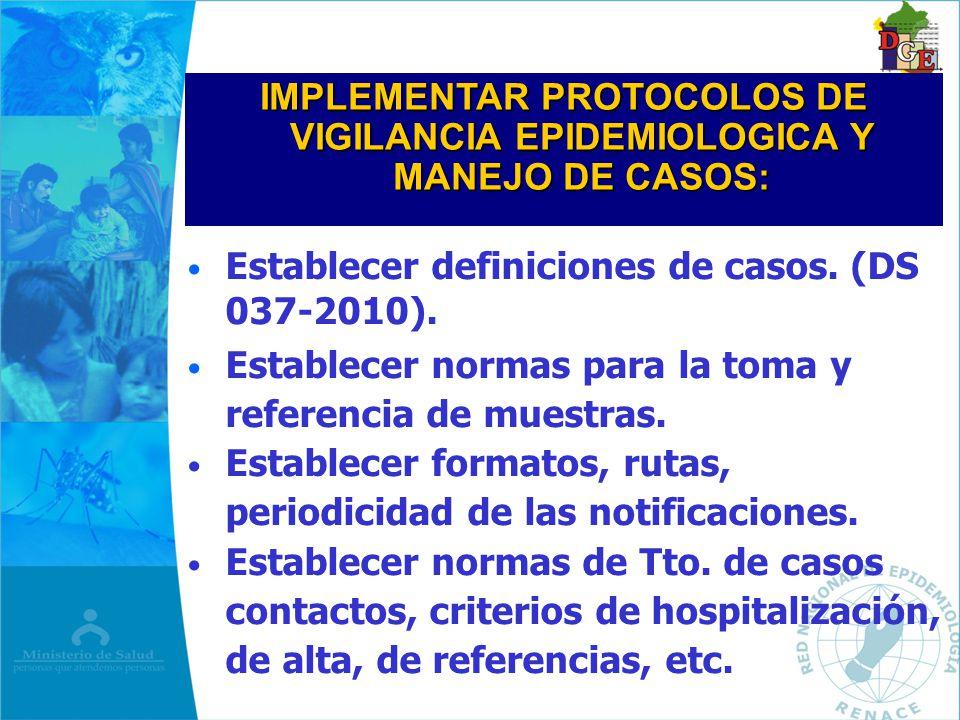 IMPLEMENTAR PROTOCOLOS DE VIGILANCIA EPIDEMIOLOGICA Y MANEJO DE CASOS: