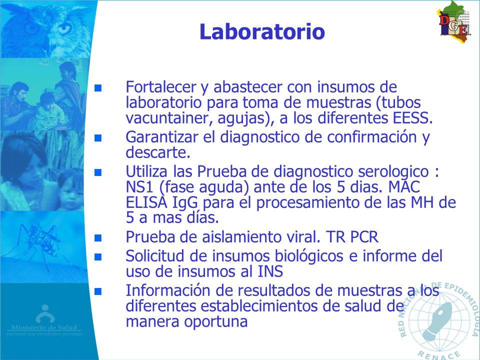 Laboratorio Fortalecer y abastecer con insumos de laboratorio para toma de muestras (tubos vacuntainer, agujas), a los diferentes EESS.