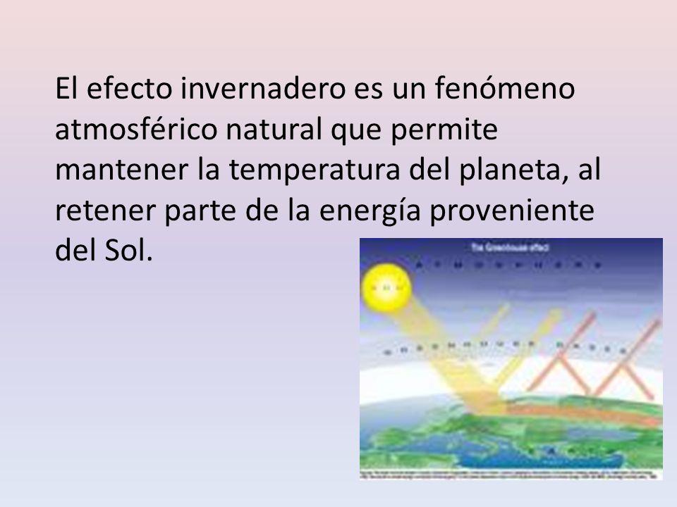 El efecto invernadero es un fenómeno atmosférico natural que permite mantener la temperatura del planeta, al retener parte de la energía proveniente del Sol.