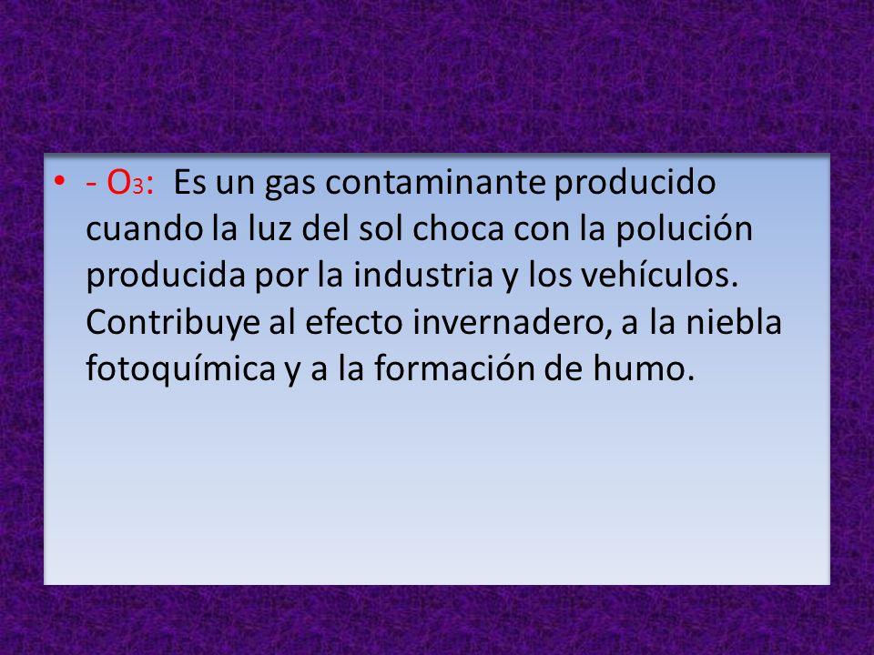 - O3: Es un gas contaminante producido cuando la luz del sol choca con la polución producida por la industria y los vehículos.