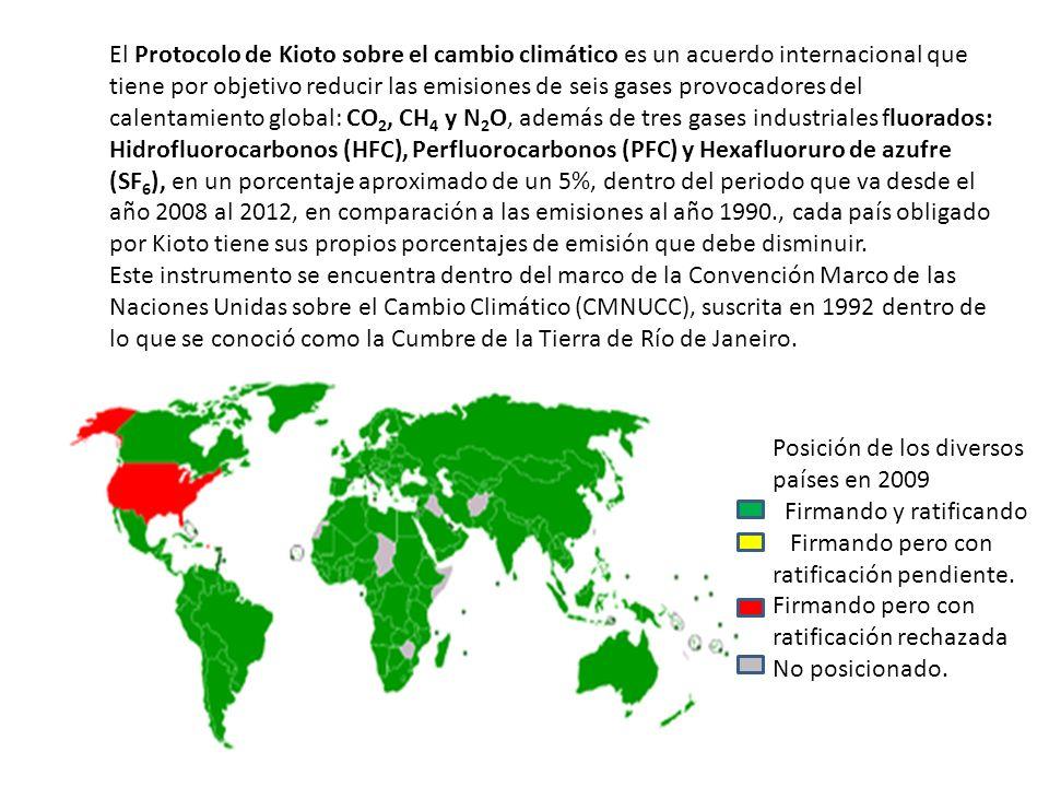 El Protocolo de Kioto sobre el cambio climático es un acuerdo internacional que tiene por objetivo reducir las emisiones de seis gases provocadores del calentamiento global: CO2, CH4 y N2O, además de tres gases industriales fluorados: Hidrofluorocarbonos (HFC), Perfluorocarbonos (PFC) y Hexafluoruro de azufre (SF6), en un porcentaje aproximado de un 5%, dentro del periodo que va desde el año 2008 al 2012, en comparación a las emisiones al año 1990., cada país obligado por Kioto tiene sus propios porcentajes de emisión que debe disminuir.