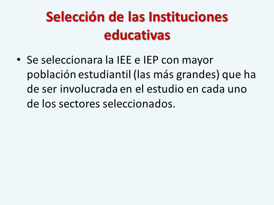 Selección de las Instituciones educativas