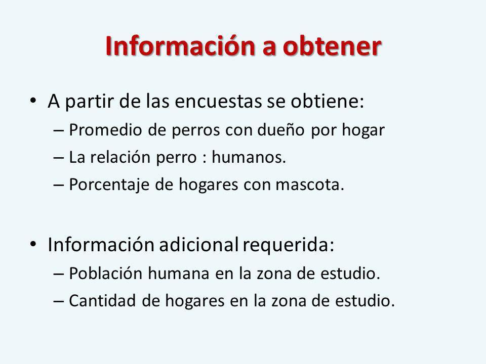 Información a obtener A partir de las encuestas se obtiene: