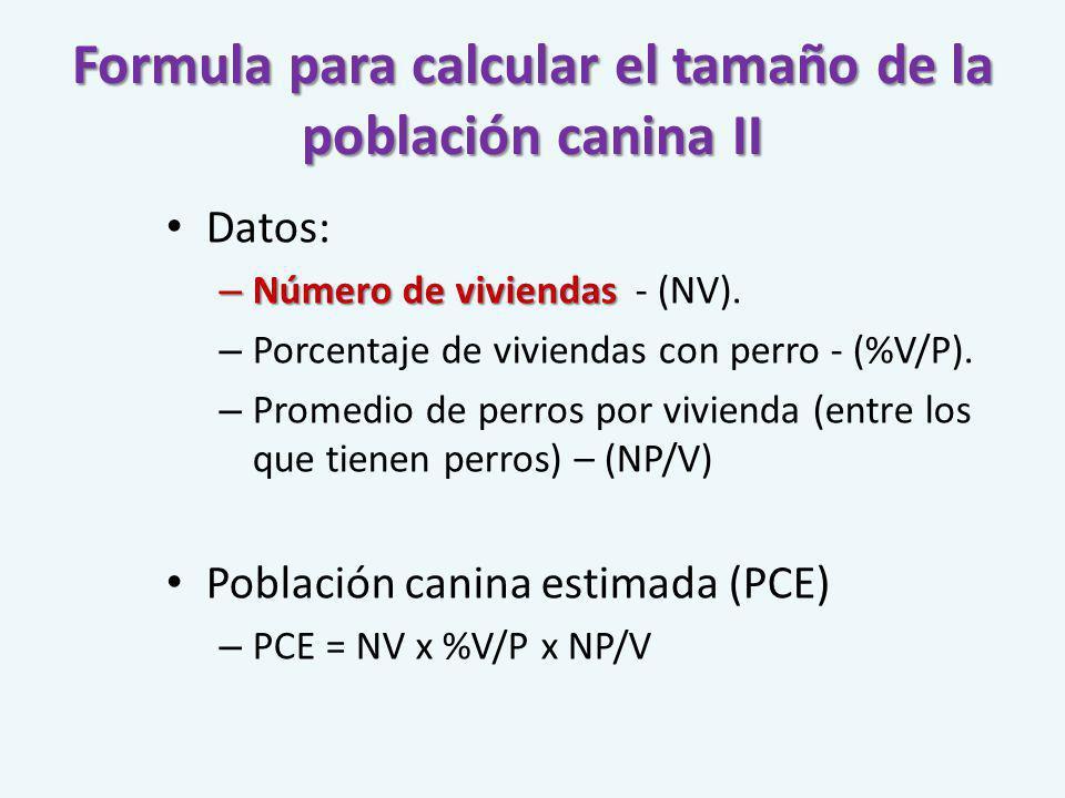 Formula para calcular el tamaño de la población canina II