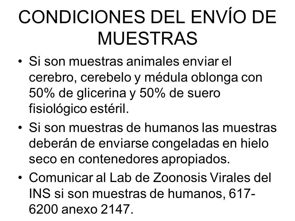 CONDICIONES DEL ENVÍO DE MUESTRAS