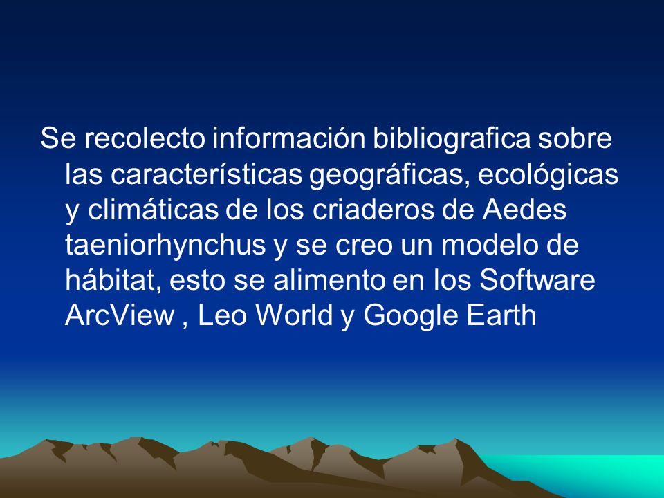 Se recolecto información bibliografica sobre las características geográficas, ecológicas y climáticas de los criaderos de Aedes taeniorhynchus y se creo un modelo de hábitat, esto se alimento en los Software ArcView , Leo World y Google Earth