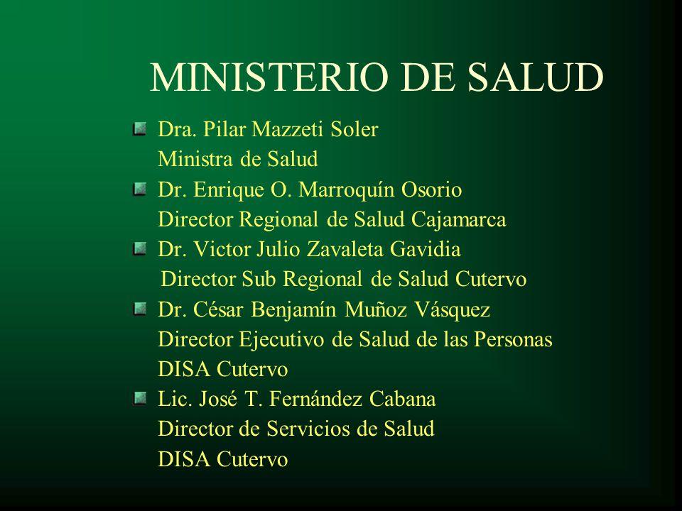 MINISTERIO DE SALUD Dra. Pilar Mazzeti Soler Ministra de Salud
