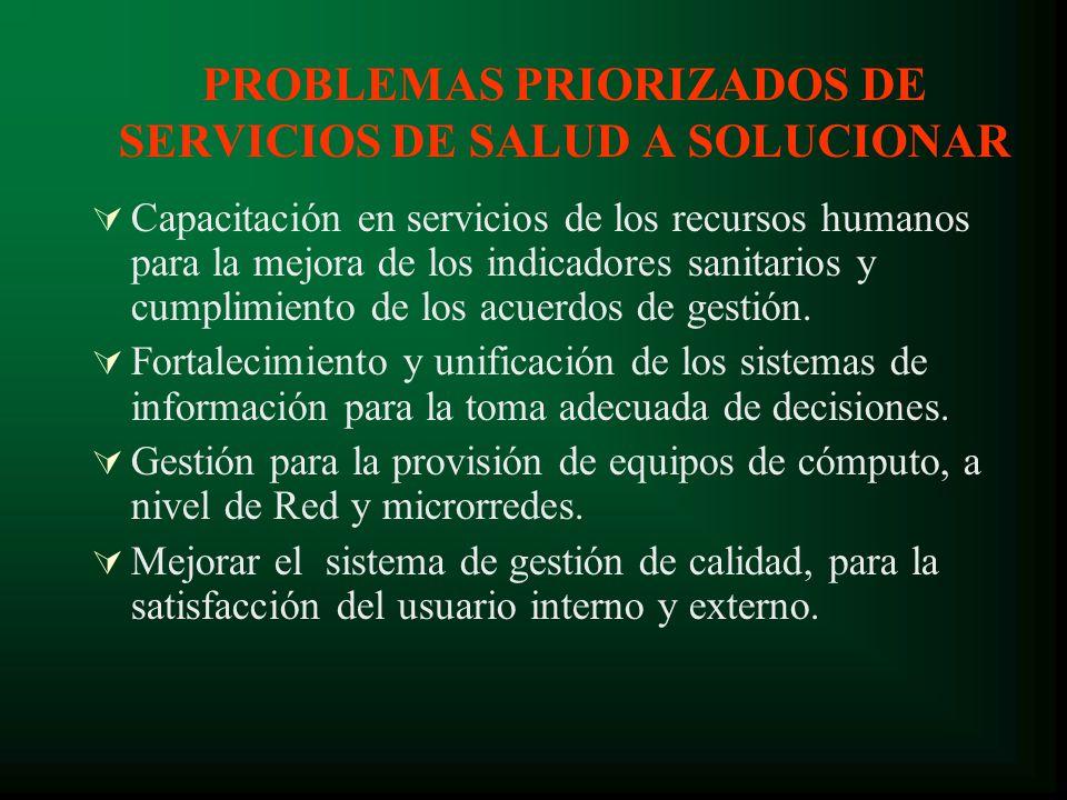 PROBLEMAS PRIORIZADOS DE SERVICIOS DE SALUD A SOLUCIONAR