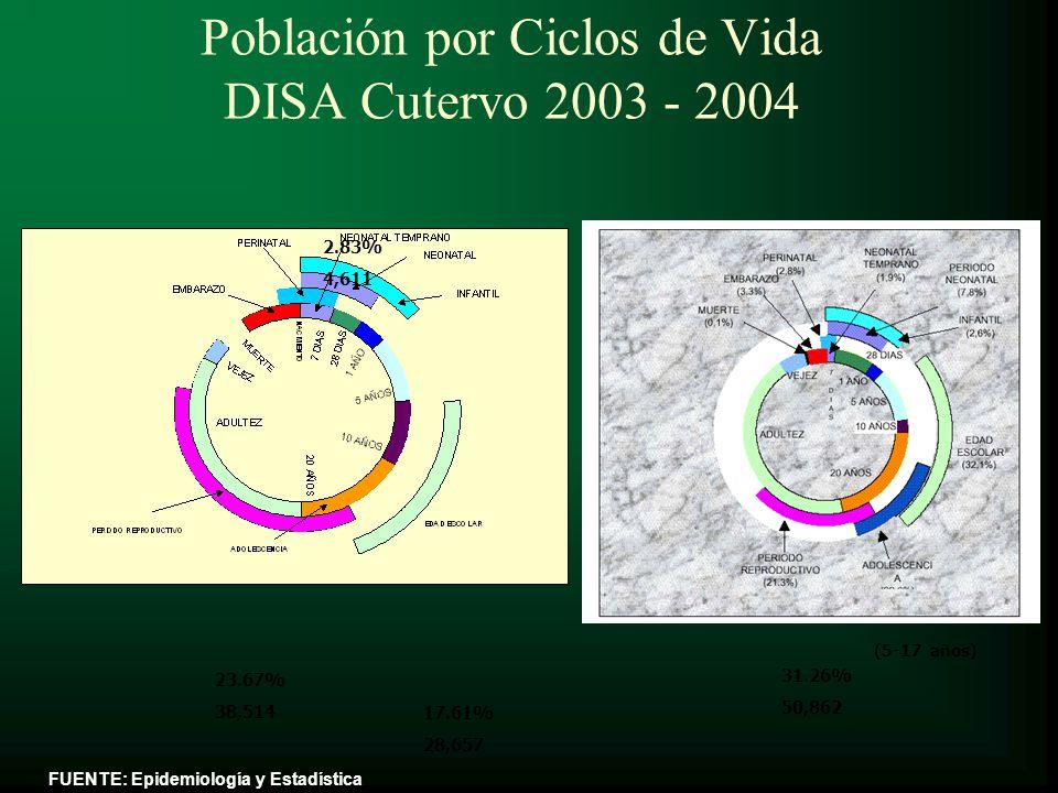 Población por Ciclos de Vida DISA Cutervo 2003 - 2004