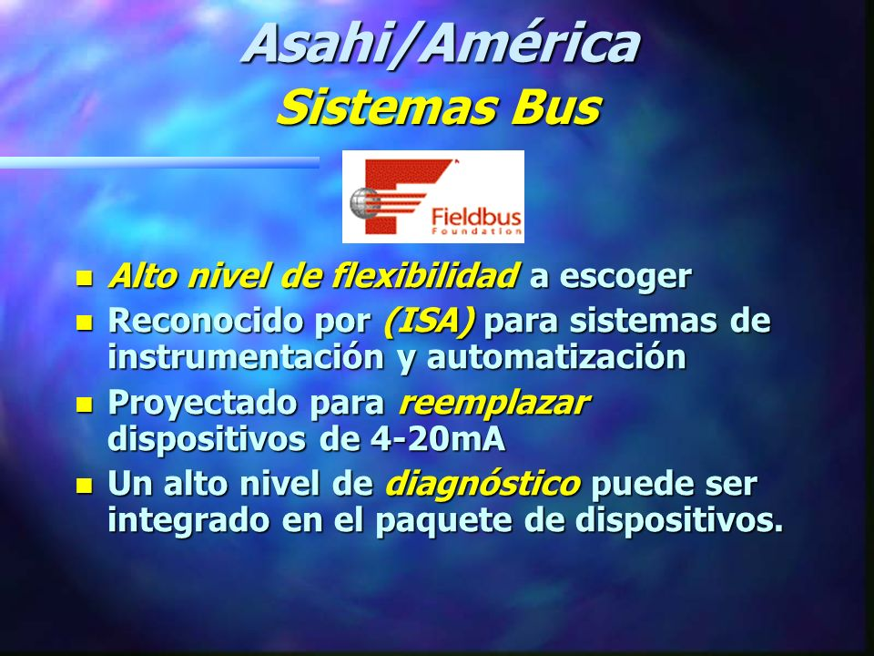 Asahi/América Sistemas Bus Alto nivel de flexibilidad a escoger