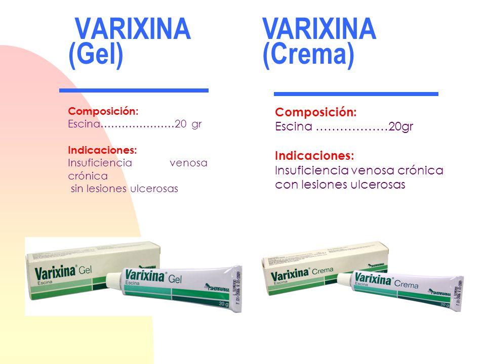 VARIXINA (Gel) VARIXINA (Crema) Composición: Escina ………………20gr