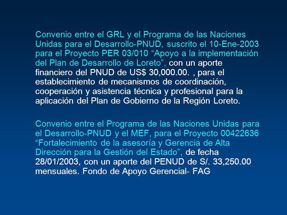 Convenio entre el GRL y el Programa de las Naciones Unidas para el Desarrollo-PNUD, suscrito el 10-Ene-2003 para el Proyecto PER 03/010 Apoyo a la implementación del Plan de Desarrollo de Loreto , con un aporte financiero del PNUD de US$ 30,000.00. , para el establecimiento de mecanismos de coordinación, cooperación y asistencia técnica y profesional para la aplicación del Plan de Gobierno de la Región Loreto.