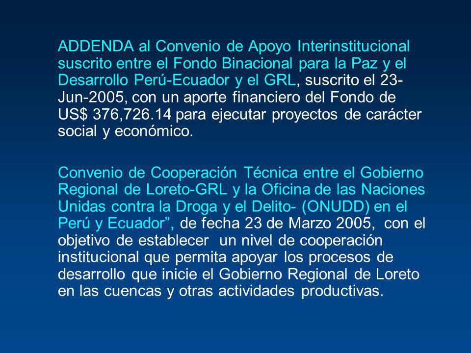ADDENDA al Convenio de Apoyo Interinstitucional suscrito entre el Fondo Binacional para la Paz y el Desarrollo Perú-Ecuador y el GRL, suscrito el 23-Jun-2005, con un aporte financiero del Fondo de US$ 376,726.14 para ejecutar proyectos de carácter social y económico.