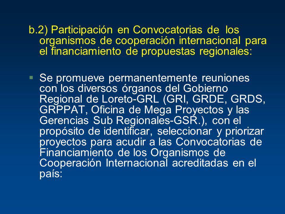 b.2) Participación en Convocatorias de los organismos de cooperación internacional para el financiamiento de propuestas regionales: