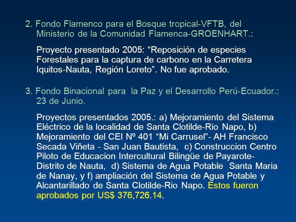 2. Fondo Flamenco para el Bosque tropical-VFTB, del Ministerio de la Comunidad Flamenca-GROENHART.: