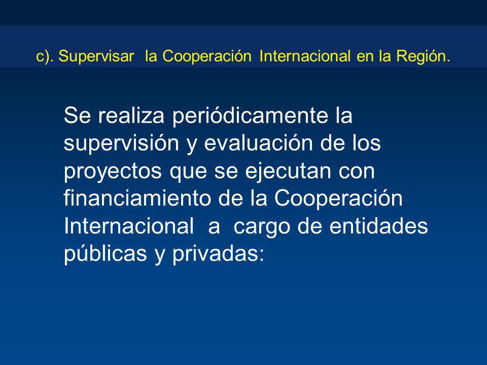c). Supervisar la Cooperación Internacional en la Región.