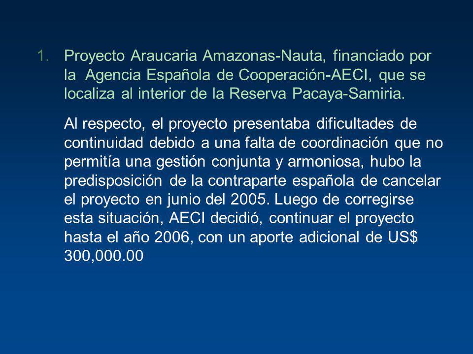 Proyecto Araucaria Amazonas-Nauta, financiado por la Agencia Española de Cooperación-AECI, que se localiza al interior de la Reserva Pacaya-Samiria.