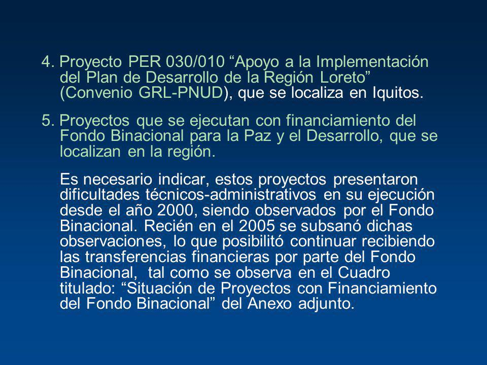 4. Proyecto PER 030/010 Apoyo a la Implementación del Plan de Desarrollo de la Región Loreto (Convenio GRL-PNUD), que se localiza en Iquitos.