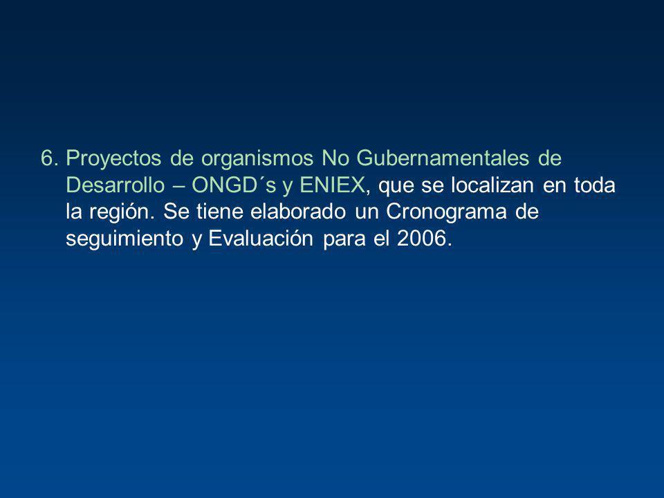 6. Proyectos de organismos No Gubernamentales de Desarrollo – ONGD´s y ENIEX, que se localizan en toda la región.