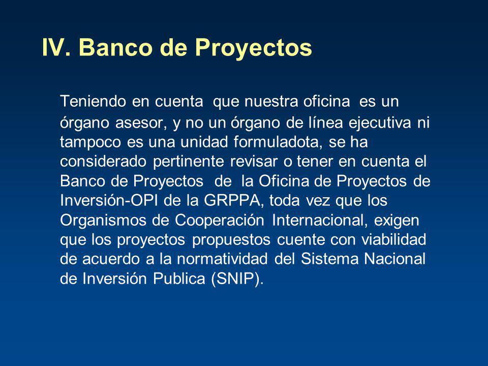 IV. Banco de Proyectos