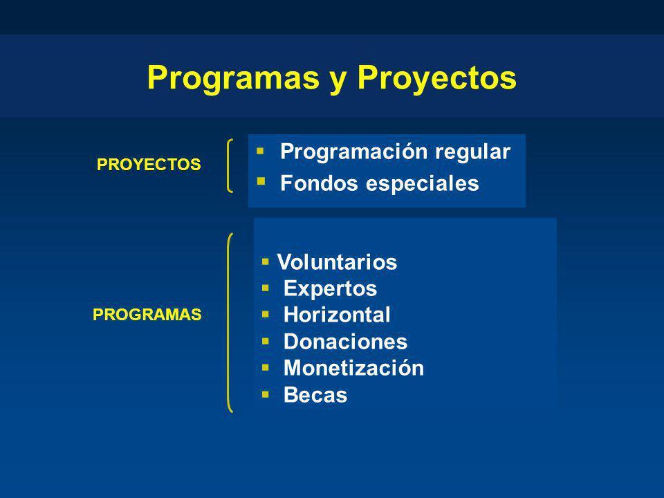 Programas y Proyectos Programación regular Fondos especiales