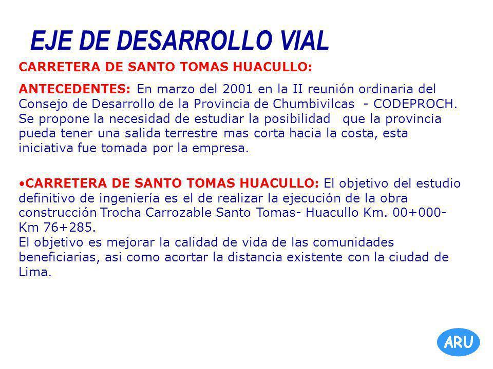 EJE DE DESARROLLO VIAL CARRETERA DE SANTO TOMAS HUACULLO: