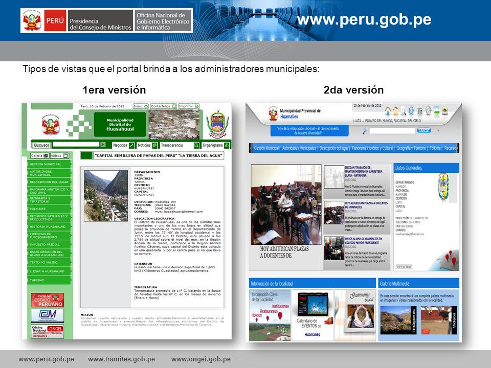 www.peru.gob.pe 1era versión 2da versión