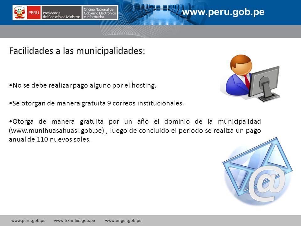 Facilidades a las municipalidades: