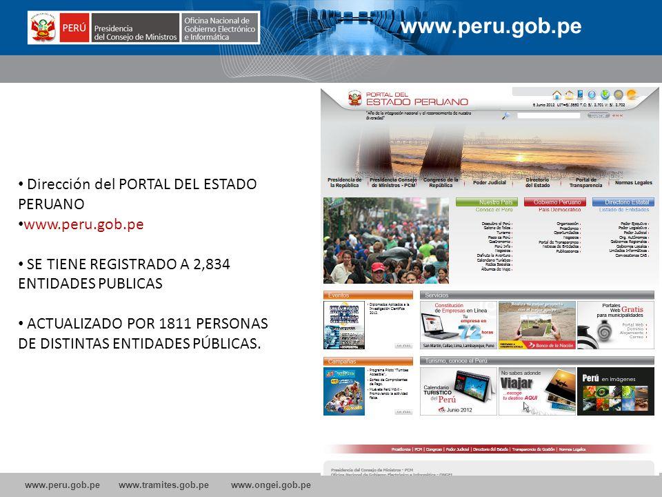 www.peru.gob.pe Dirección del PORTAL DEL ESTADO PERUANO