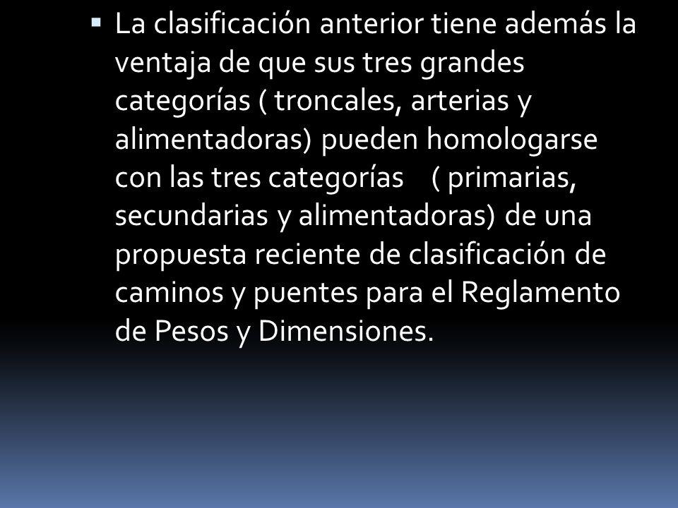 La clasificación anterior tiene además la ventaja de que sus tres grandes categorías ( troncales, arterias y alimentadoras) pueden homologarse con las tres categorías ( primarias, secundarias y alimentadoras) de una propuesta reciente de clasificación de caminos y puentes para el Reglamento de Pesos y Dimensiones.