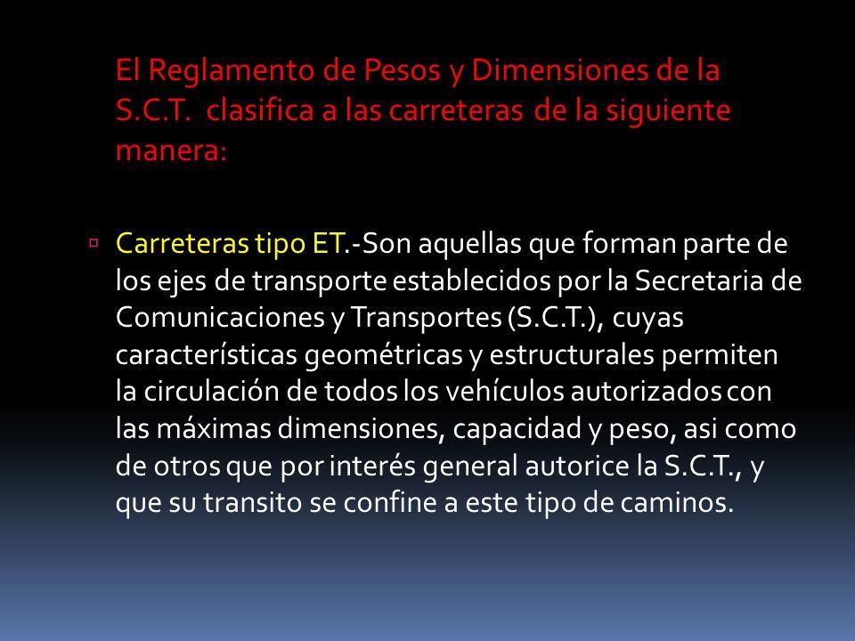 El Reglamento de Pesos y Dimensiones de la S. C. T