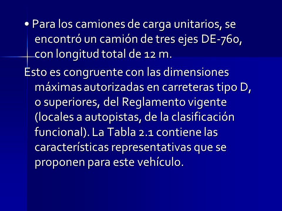 • Para los camiones de carga unitarios, se encontró un camión de tres ejes DE-760, con longitud total de 12 m.
