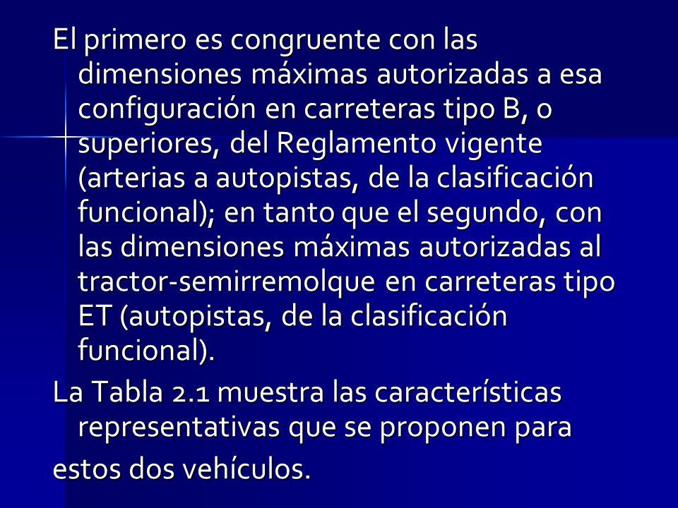 El primero es congruente con las dimensiones máximas autorizadas a esa configuración en carreteras tipo B, o superiores, del Reglamento vigente (arterias a autopistas, de la clasificación funcional); en tanto que el segundo, con las dimensiones máximas autorizadas al tractor-semirremolque en carreteras tipo ET (autopistas, de la clasificación funcional).