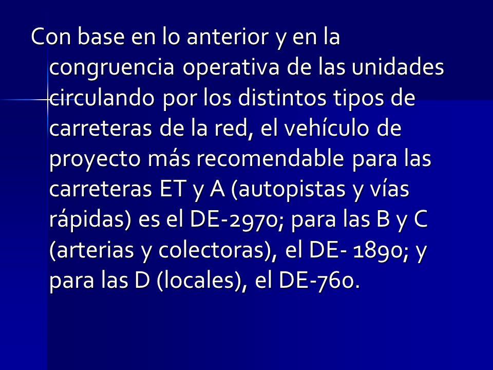 Con base en lo anterior y en la congruencia operativa de las unidades circulando por los distintos tipos de carreteras de la red, el vehículo de proyecto más recomendable para las carreteras ET y A (autopistas y vías rápidas) es el DE-2970; para las B y C (arterias y colectoras), el DE- 1890; y para las D (locales), el DE-760.