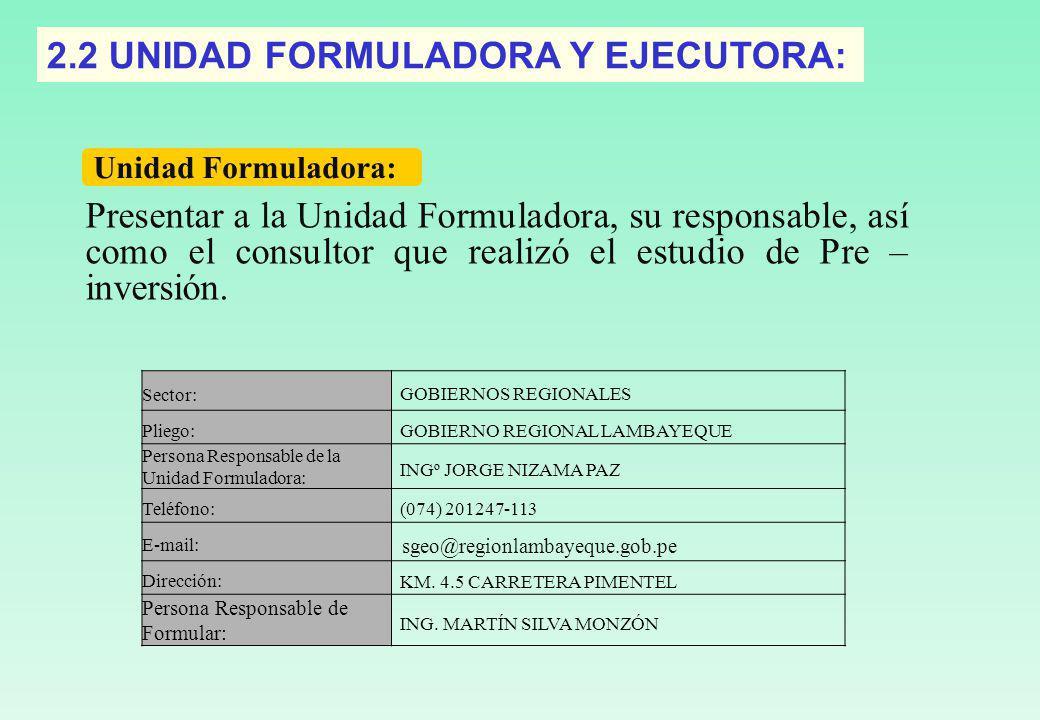 2.2 UNIDAD FORMULADORA Y EJECUTORA: