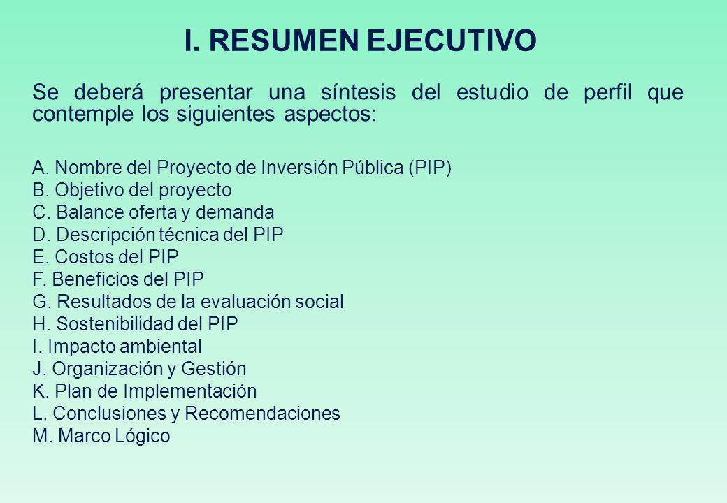 I. RESUMEN EJECUTIVO Se deberá presentar una síntesis del estudio de perfil que contemple los siguientes aspectos: