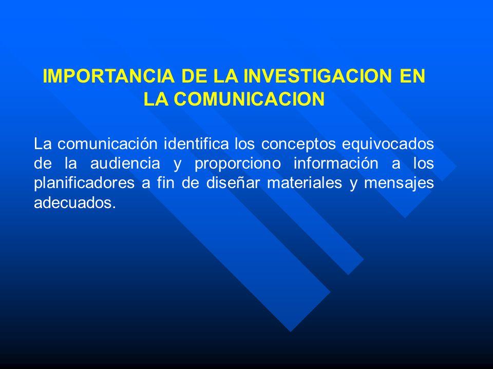 IMPORTANCIA DE LA INVESTIGACION EN LA COMUNICACION