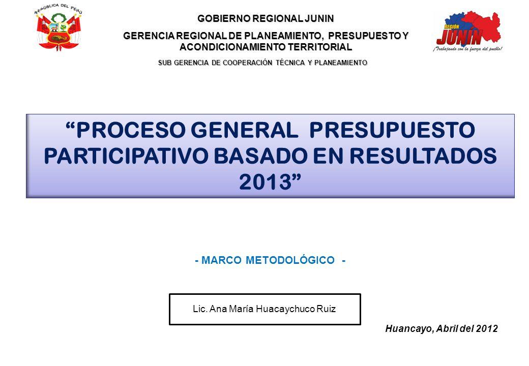 PROCESO GENERAL PRESUPUESTO PARTICIPATIVO BASADO EN RESULTADOS 2013