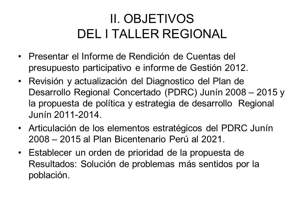 II. OBJETIVOS DEL I TALLER REGIONAL
