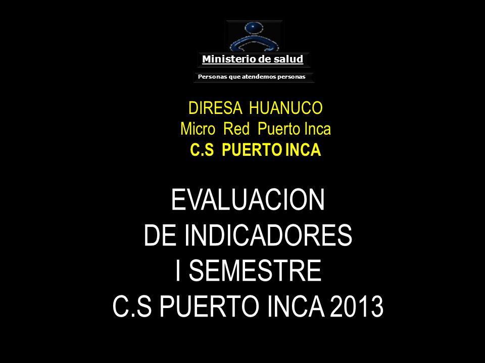 EVALUACION DE INDICADORES I SEMESTRE C.S PUERTO INCA 2013