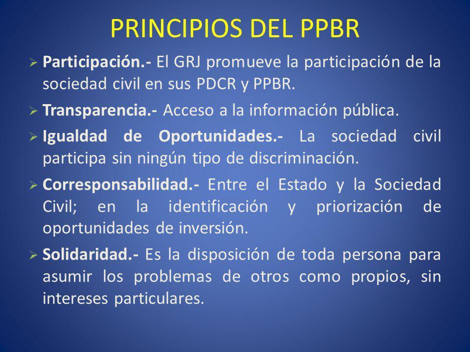 PRINCIPIOS DEL PPBR Participación.- El GRJ promueve la participación de la sociedad civil en sus PDCR y PPBR.