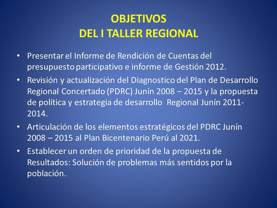 OBJETIVOS DEL I TALLER REGIONAL