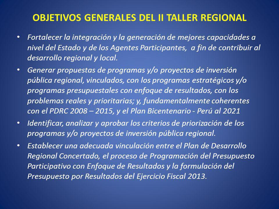 OBJETIVOS GENERALES DEL II TALLER REGIONAL