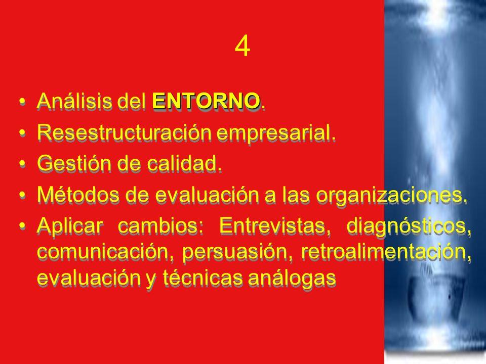 4 Análisis del ENTORNO. Resestructuración empresarial.